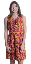 Sz 8 Nanette Lepore Magenta/Yellow/Orange Printed Sleeveless Button Fron... - $59.36 CAD