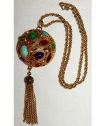 Vintage La Roco Dome Pendant Necklace with Multi Colored Stones and Tassels - $68.00