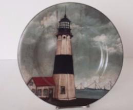 "David Carter Black and White Lighthouse Plate Decorative Sakura 8"" Stoneware - $14.84"