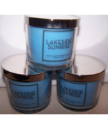 Lot of 3 Bath & Body Works Lakeside Sunrise Scented Candle with Lid 4 oz - $22.15