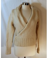 Banana Republic Cozy Wrap Cardigan Thick Ivory Wool Mohair Sweater sz M - $28.80