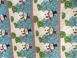"Snowman Rows on Blue Stripes David Textiles Hallmark 2 Yds x 44"" W New - $13.98"