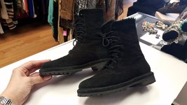 COLE HAAN Size 5.5 Black Lace Up Suede Fur Lined Boots EUC - $89.99