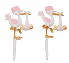 "12 Plastic Pink Stork baby shower favors appliques picks 7"" tall - $6.92"