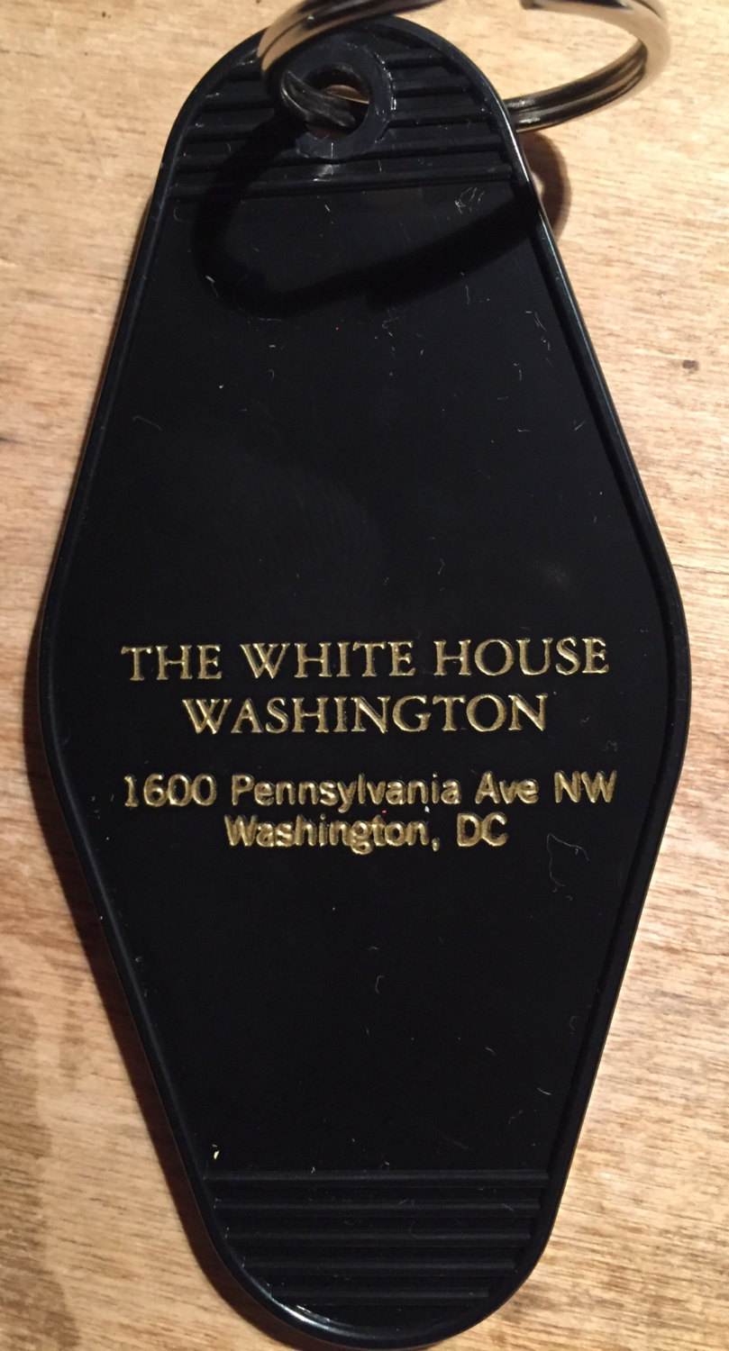 Primary image for THE WHITE HOUSE keytag - in blue, pink, gold, and black/gold print!  Limited Sup