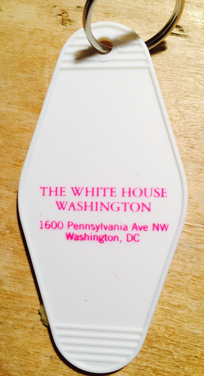 THE WHITE HOUSE keytag - in blue, pink, gold, and black/gold print!  Limited Sup