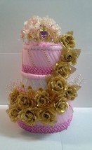 Elegant Gold and Pink Themed Baby Shower Floral Decor 3 Tier Diaper Cake... - $75.00