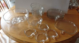 Vintage APPLE Shaped Clear Colony GLASS 17 Piec... - $55.00
