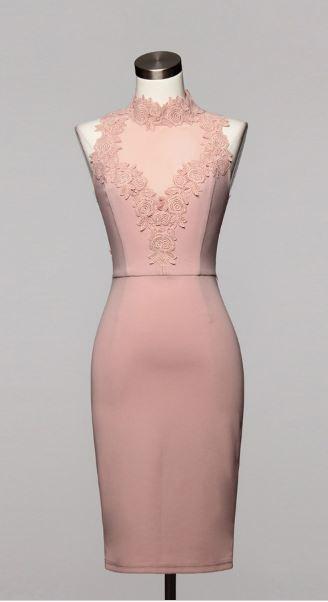 Red Choker Dress / Floral Sweetheart Crochet / Open Back Bodycon Valentine Dress