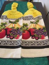 Handmade Crocheted Top Hanging Kitchen Towels With Fruit - Yellow Top - $6.00