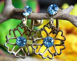 Vintage Blue Rhinestone Flower Hearts Dangle Drop Earrings Screw Back - $14.95