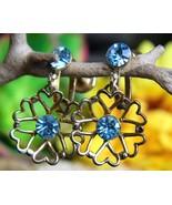 Vintage Blue Rhinestone Flower Hearts Dangle Dr... - $14.95