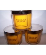 Lot of 3 Bath & Body Works Pina Colada Smoothie Scented Jar Candle with ... - $22.50