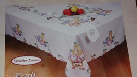 """Creative Linens Handbrushed Embroidered Tablecloth Fruit Design 68"""" Round - $19.79"""
