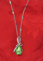 "Emerald Pear Shaped Swarovski Crystal Pendant 20"" Necklace 18K White Gold Plated - $14.84"