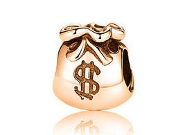 10K Yellow GOLD Handmade Money Bag Charm Fits EUROPEAN BRACELETS Bead - $144.05