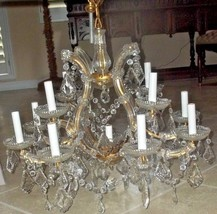 "Italian Maria Theresa Thirteen Light Antique Chandelier 26""D 19 wide - $2,400.00"