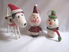3 Felt Ornaments  Santa, Snowman, black white ... - $25.69