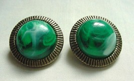 Pair Vintage Trifari Earrings Gorgeous Green Marble Swirled Cabochon Gold Tone - $18.95