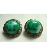 Pair Vintage Trifari Earrings Gorgeous Green Marble Swirled Cabochon Gol... - £14.49 GBP