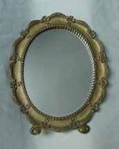 VINTAGE CHIC GOLD PAINTED OVAL EASEL & HANGING MIRROR CARVED RIBBON SYRO... - $32.50