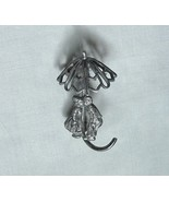 VINTAGE Sterling Silver Pin Dutch Boy & Girl Kissing Under Umbrella - £57.35 GBP