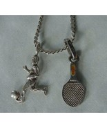 VINTAGE STERLING SILVER CHAIN NECKLACE & 2 .925 CHARMS SOCCER PLAYER TENNIS - £32.50 GBP