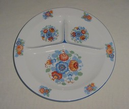 Vintage White & Block Czechoslovakia Divided Sectioned Dish Plate Floral - $16.95