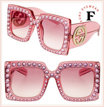 GUCCI HOLLYWOOD FOREVER 0145 Pink Crystal Stud Oversized Sunglasses GG0145 - $841.50