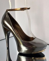 NEW LANVIN Silver Mirror Ankle Strap Platform Pumps (Size 37) - MSRP $1,... - $299.95