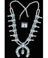 Native Zuni Effie C Turquoise Snake SQUASH BLOS... - $1,659.00