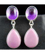 Navajo Purple & Pink Amethyst Valentine Gemstone Dangle Earrings RA Begay - $149.00