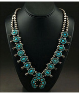 Vintage LONE MOUNTAIN TURQUOISE SQUASH BLOSSOM NECKLACE Museum Quality c... - $8,550.00