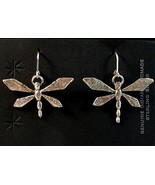 Navajo Native American Sterling Silver DRAGONFLY Dangle Earrings by Kera... - $198.00
