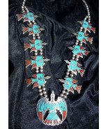 Vintage RARE Tommy Singer Sterling Silver Turquoise Waterbird NECKLACE N... - $3,699.00