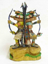 "Hopi 9"" Blue & Yellow Ahote Kachina Dolls Sculpture By Native Milton Howard - $1,925.00"