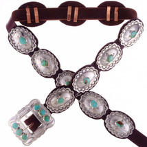 Native Navajo Old Fred Harvey Style Stamped Silver Turquoise Concho Conc... - $498.00
