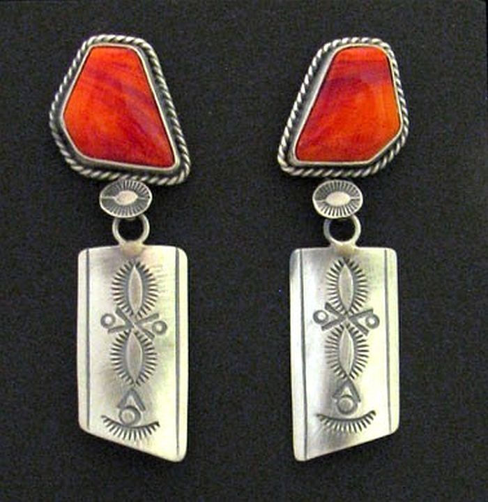Primary image for Navajo Sterling Silver Dangle Earrings Tequila Sunrise Gems Native Marian Nez