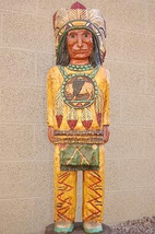 4' CIGAR STORE INDIAN w Mandella 4 ft Wooden Sculpture by Frank Gallagher - $915.00