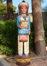 Frank Gallagher 6 ft CIGAR STORE INDIAN CHIEF w Buffalo & Kiva Design BLUE - $1,700.00