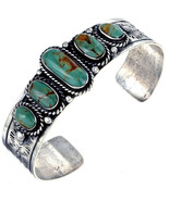 Navajo Old Pawn Style Sterling Silver Battle Mtn Turquoise Row Bracelet ... - $299.00+