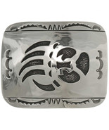 Navajo Bear Paw Belt Buckle Silver Overlay Long... - $269.00