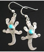 Native American Navajo Sterling Silver Turquoise Lizard Gecko Dangle Ear... - $129.00