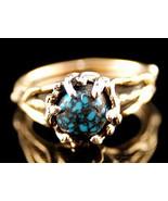 Genuine OLD LANDER BLUE Turquoise Southwestern Ring 14K Gold Womens Ladi... - $2,799.00