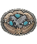 Navajo Silver Gold EAGLE Belt Buckle Sleeping Beauty Turquoise by T Ahas... - $510.00