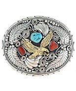 Navajo Sterling Silver Gold Turquoise Coral EAG... - $529.00