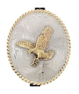 Southwestern Golden Eagle Stamped Silver Bolo Tie Native American Style - $189.00