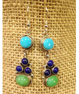 Turquoise Blue Lapis Earrings | Sterling Silver Dangles | Navajo | Herbe... - $179.00