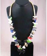 Navajo Stacked FETISH Necklace Multi-Gems Anima... - $275.00