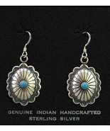 Navajo Sterling Silver Turquoise Concho Concha Dangle Earrings - $69.00